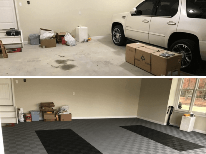 ModuTile Garage Floor Before After