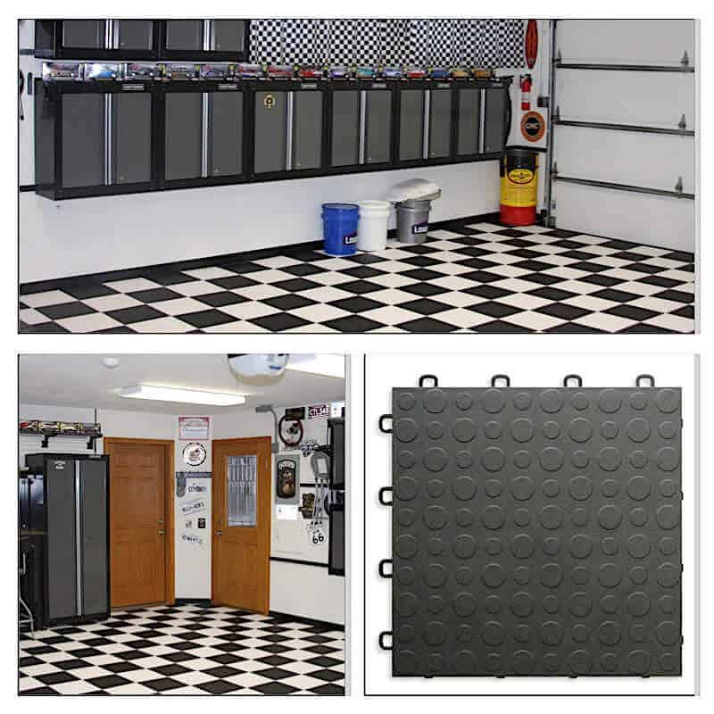 Coin Top Garage Floor Tiles - black-white