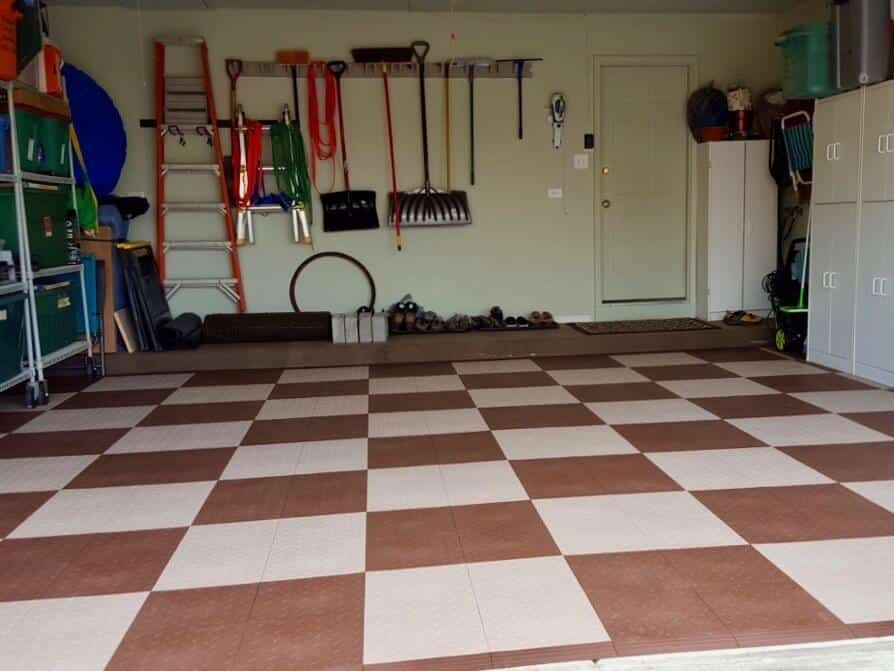 Diamond Top Checkered Garage Floor Tiles Brown Beige
