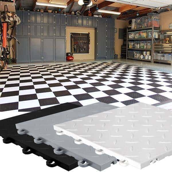Diamond Top Garage Floor Tiles - black and white combo