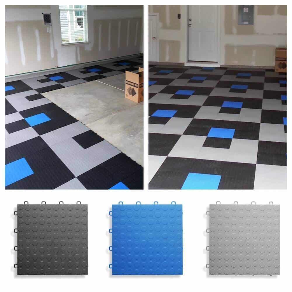 Garage Flooring Tiles - ModuTile - Coin Top - Black, Blue, Gray