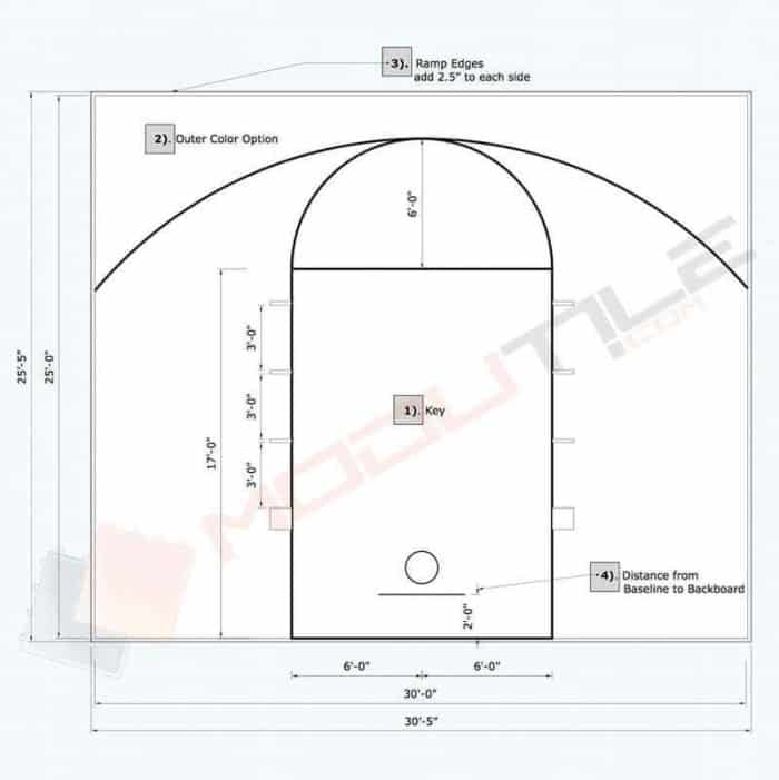 30x25 ModuTile Basketball Floor Tile Kit - plan / drawing