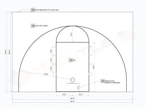 44x29 Outdoor Basketball Court Plan / Drawing