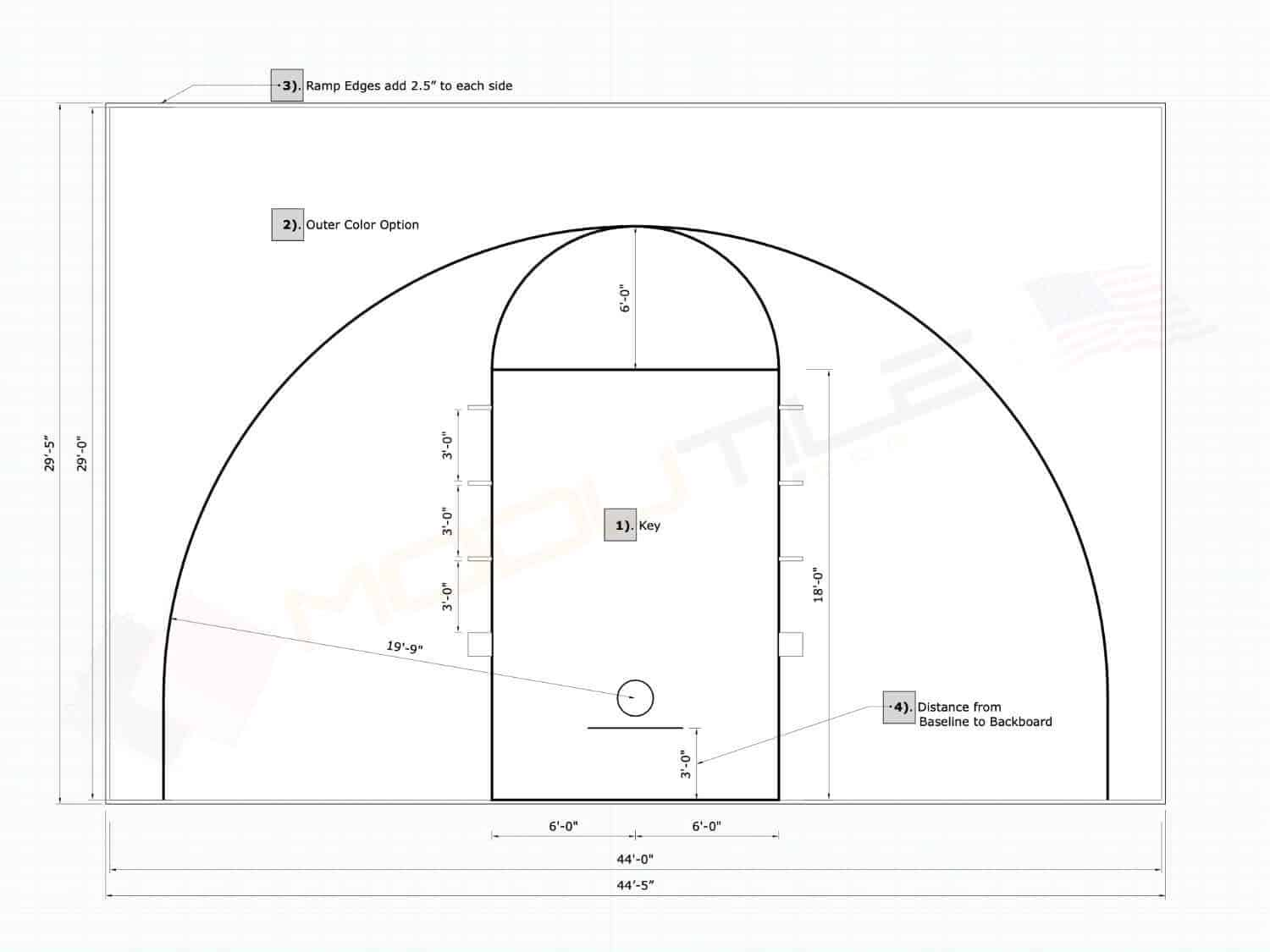 Outdoor Basketball Court Floor 44x29