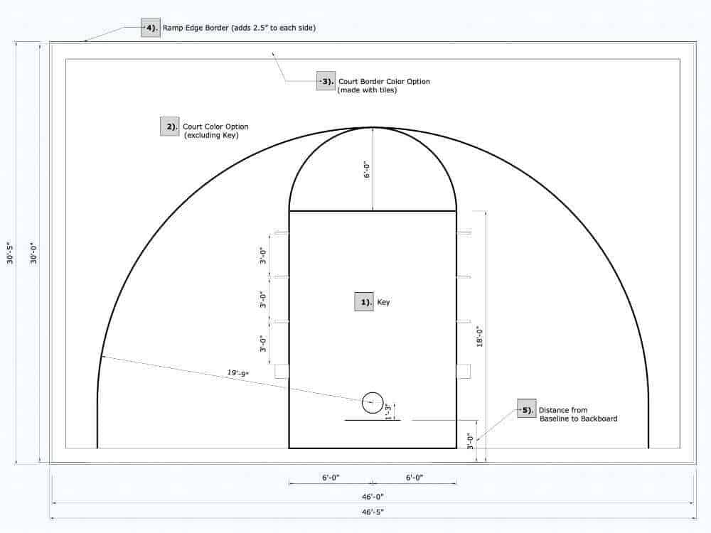 46x30 Basketball Half Court Plan Drawing