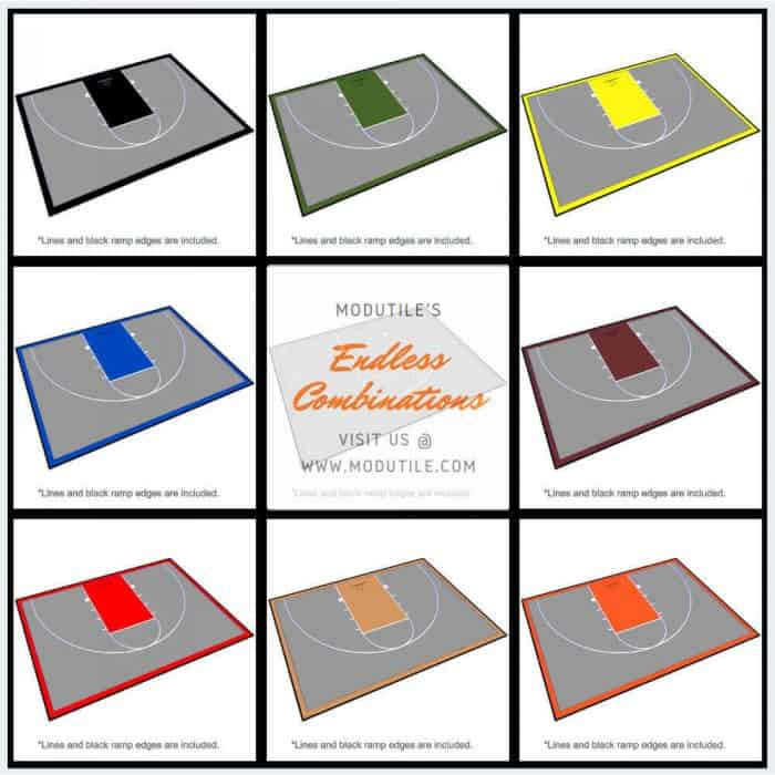 Half Court Basketball Floor 46x30 Color Options