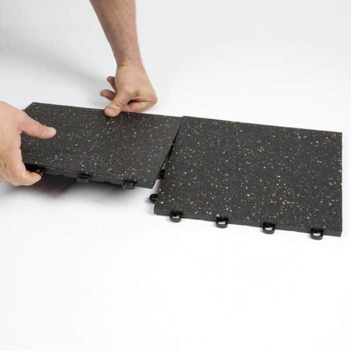 Interlocking Rubber Floor Tiles - Plastic Base - Confetti Flecks