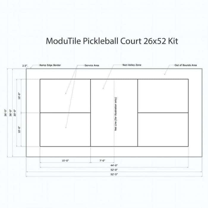 Pickleball Court Diagram Drawing - 26x52 - ModuTile