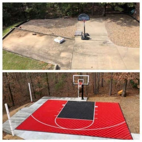 Sport Basektball Court Foor - 30x25 - red-black