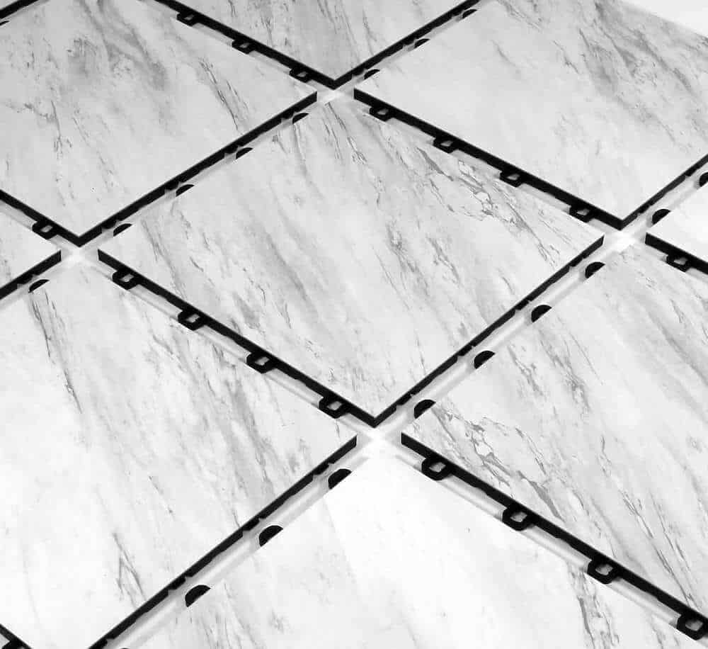 White Marble Vinyl Top Interlocking Floor Tile