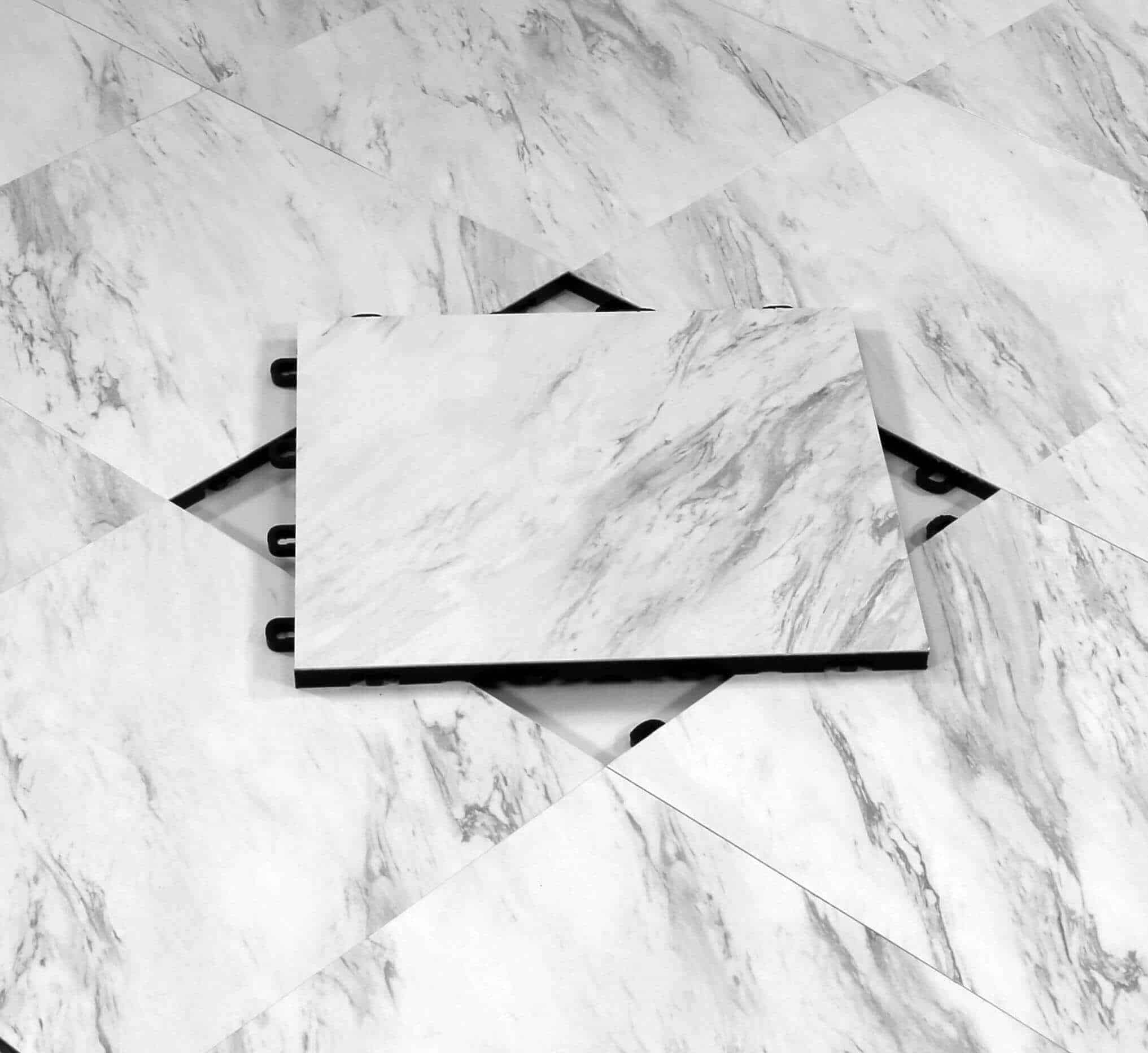 VCT White Marble Modular Interlocking Floor Tile