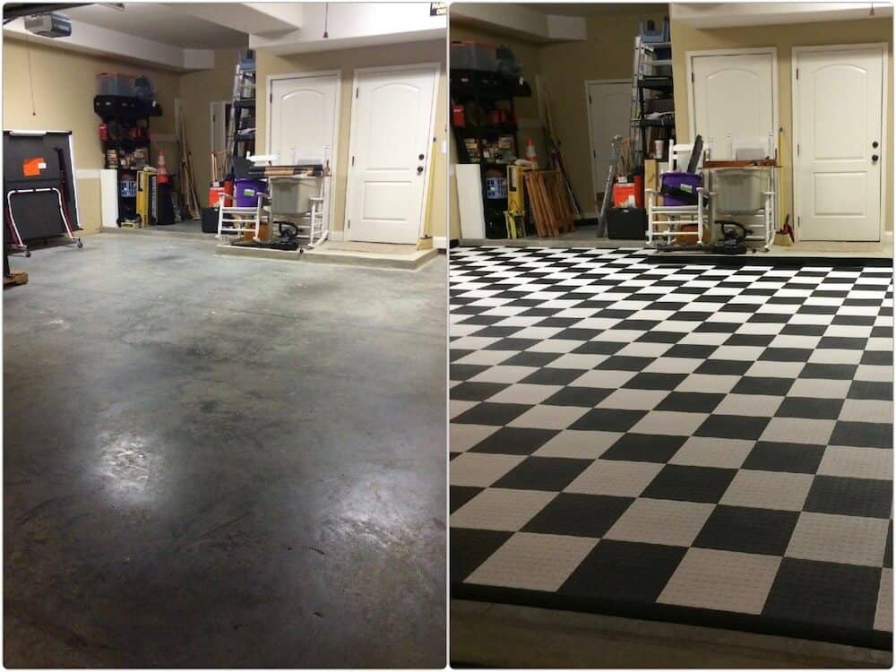Garage Floor Checkered - before - after - ModuTile