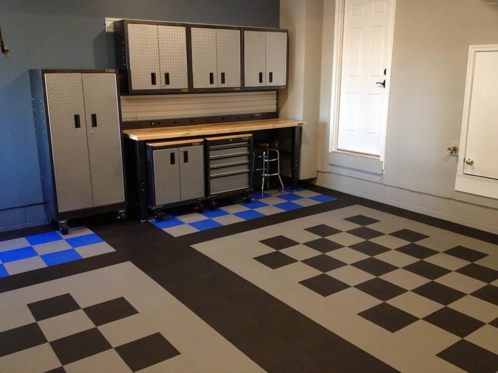 garage floor coin top checkered pattern