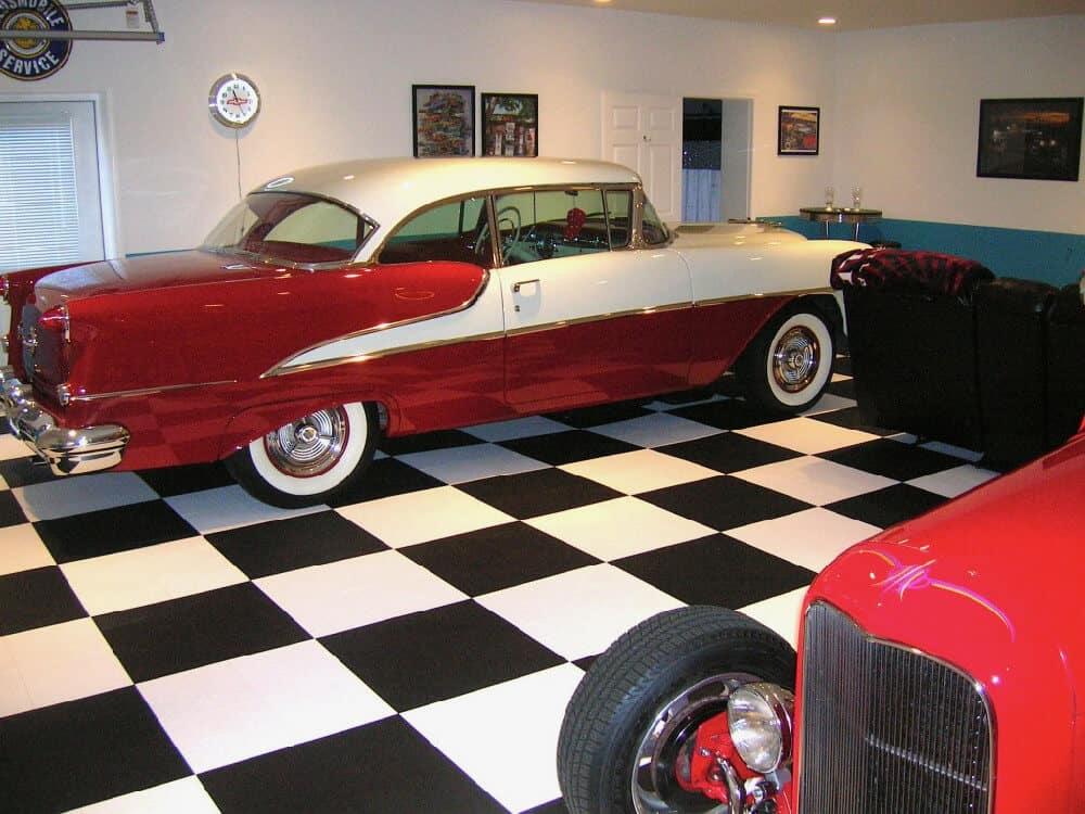 garage floor tile chevy black white checkered