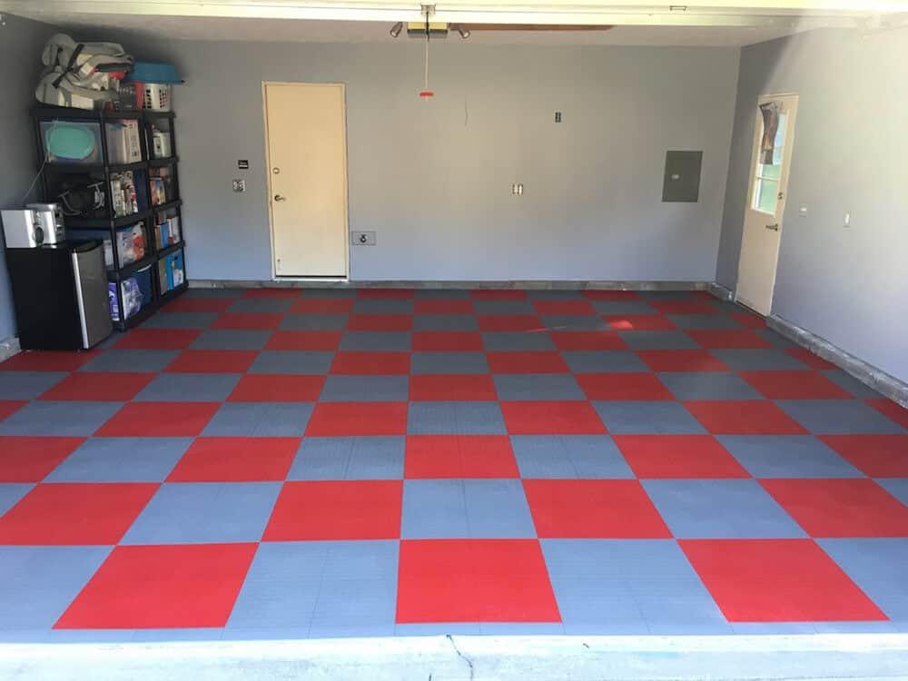 garage floor tile coin top gray red