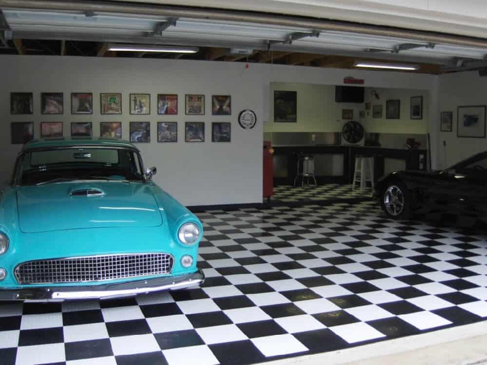 garage floor tile white black