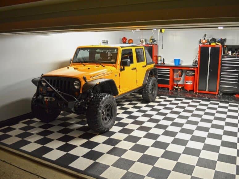 garage floor tiles coin top jeep wrangler