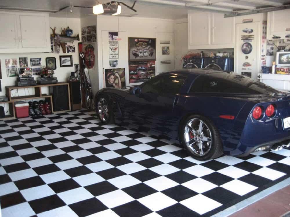 garage flooring checkered corvette
