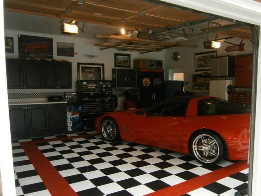 garage flooring white black red Corvette