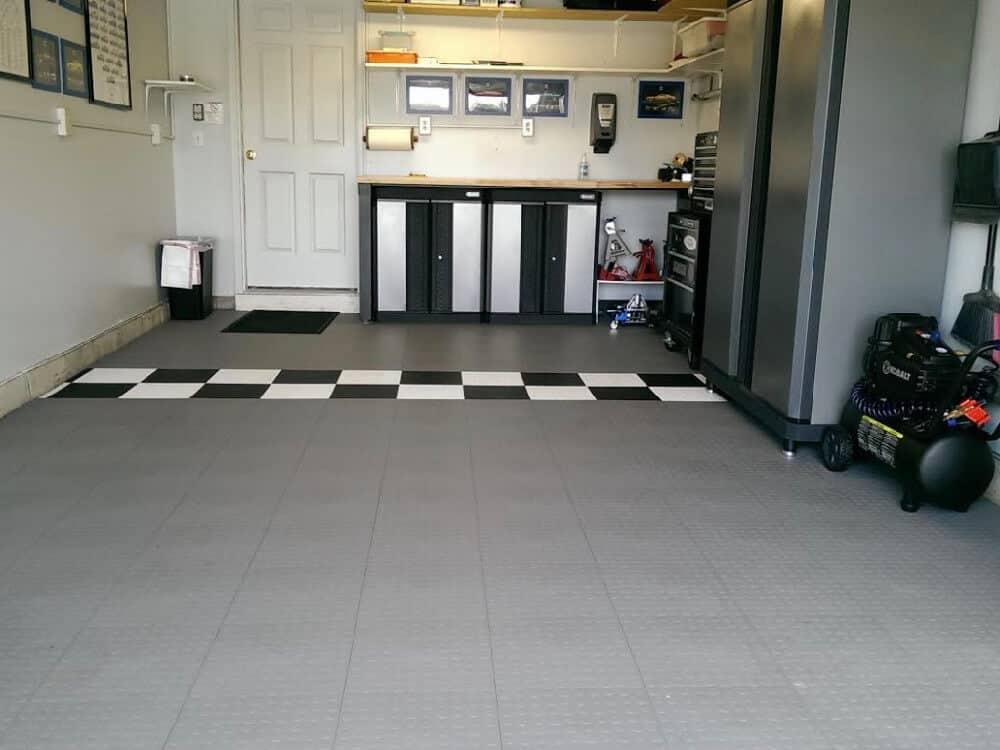gray coin garage floor tile