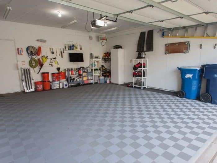 gray perforated garage floor tile