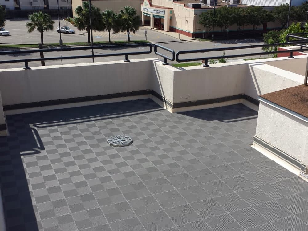 roof patio top perforated gray tiles