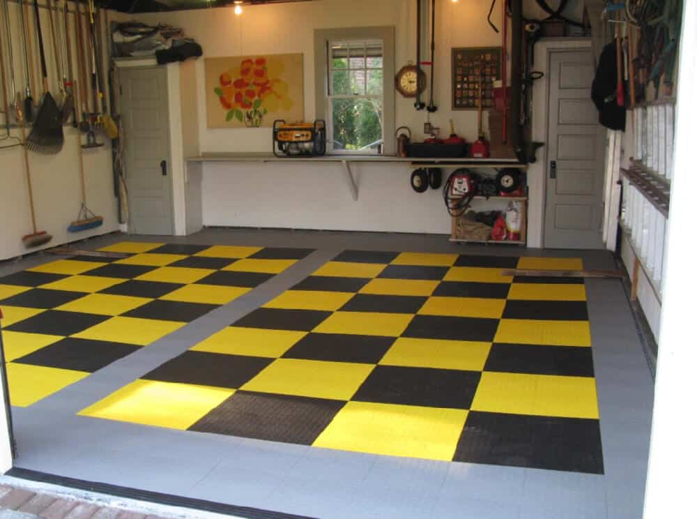 yellow black garage floor checkered