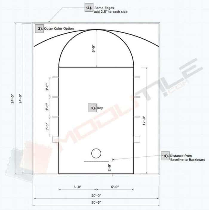 20x24 ModuTile Outdoor Basketball Floor Drawing - Plan