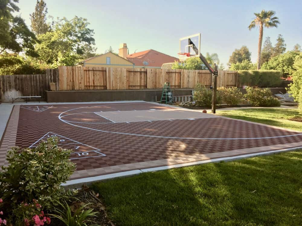 46x30 Outdoor Basketball Court Shuffleboard, Texas - ModuTile