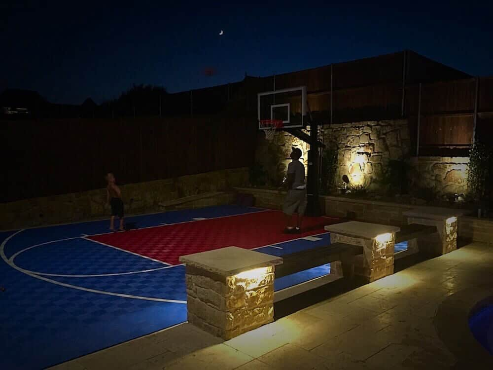 ModuTile backyard basketball court floor with lines blue red