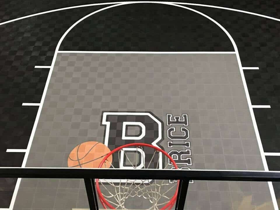 ModuTile backyard basketball court floor graphics
