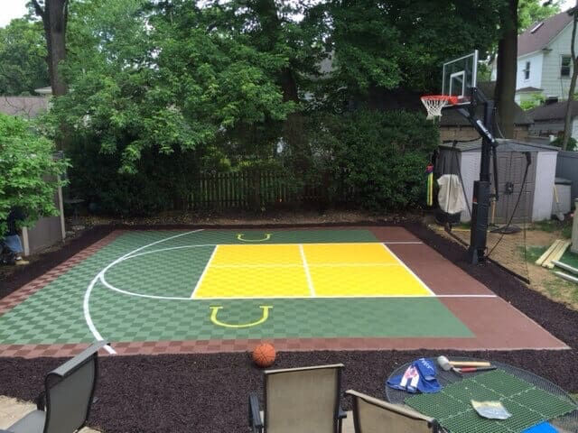 Sport Tile Outdoor basketball court floor with four square lines