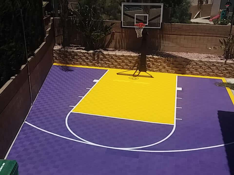 Custom outdoor backyard basketball court floor California