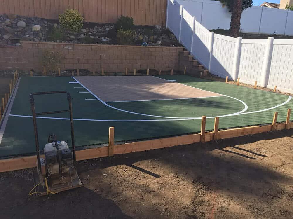 ModuTile backyard outdoor basketball court floor Green Beige