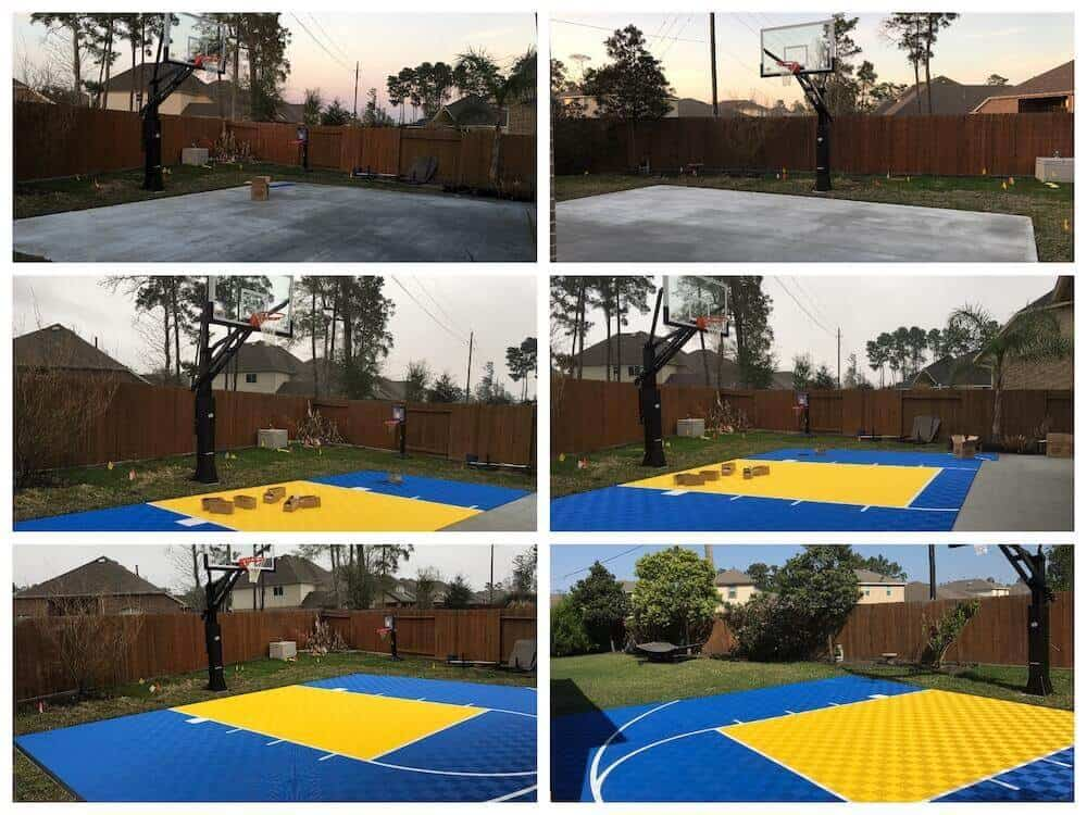 Backyard Basketball Court Floor Collage