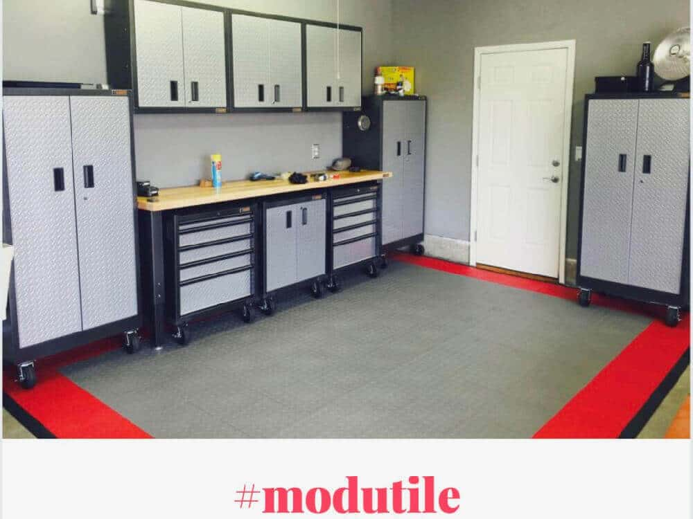 Basement Floor Tile Gray Red Frame ModuTile