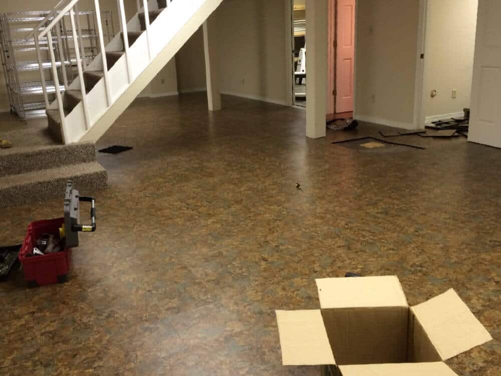 Basement Flooring Vinyl Slate Interlocking Tile ModuTile