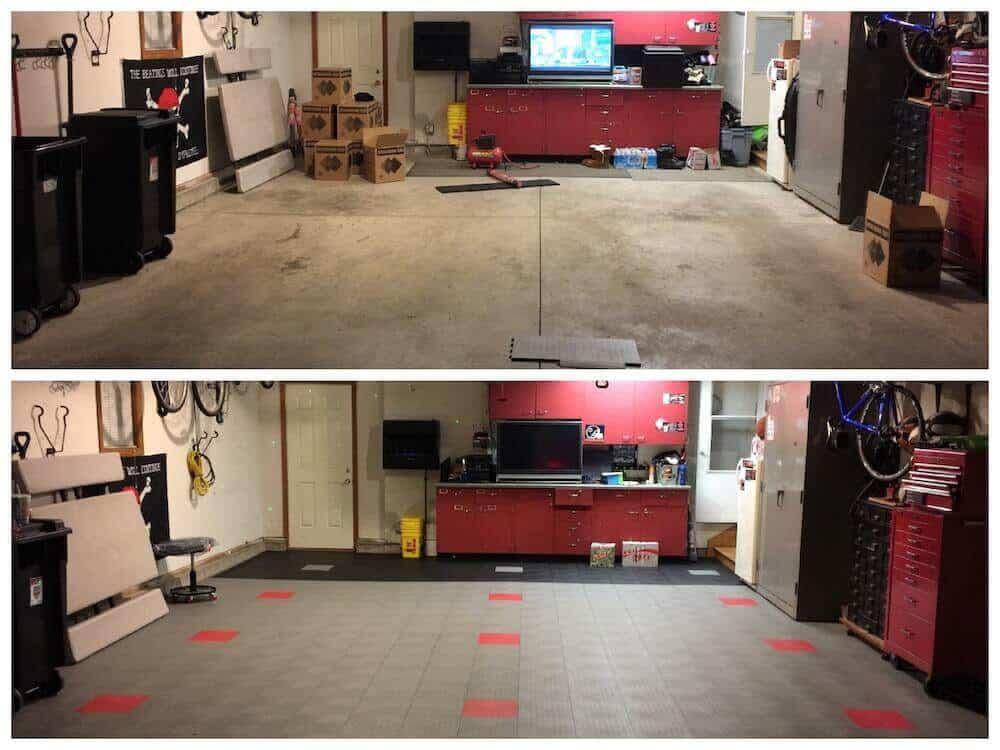 Interlocking Garage Floor Tile - before - after