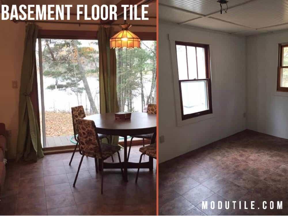 Clay Sandstone Vinyl Basement Floor Tile ModuTile