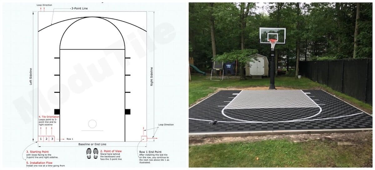 How To Install Backyard Basketball Court Tiles - 11x5