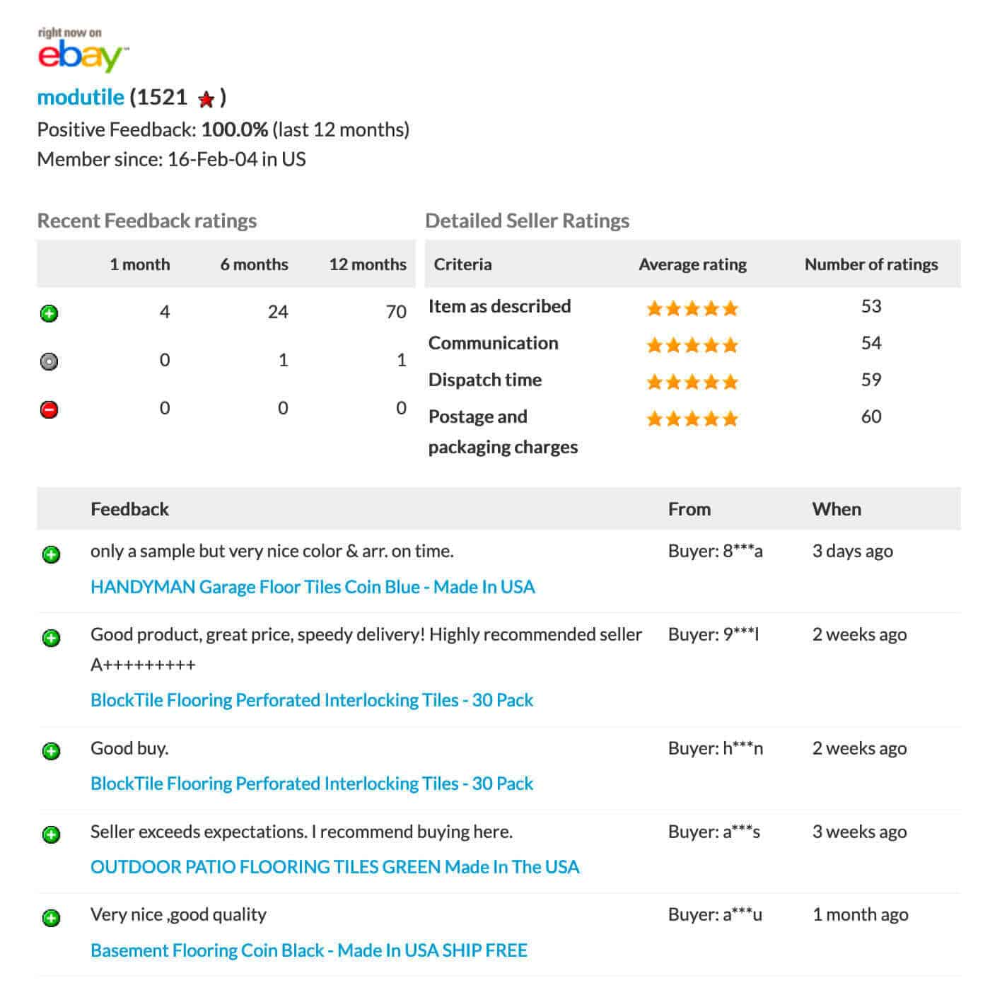 eBay ModuTile Reviews