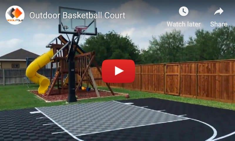 Outdoor Basketball Court Floor Backyard Video Black Gray