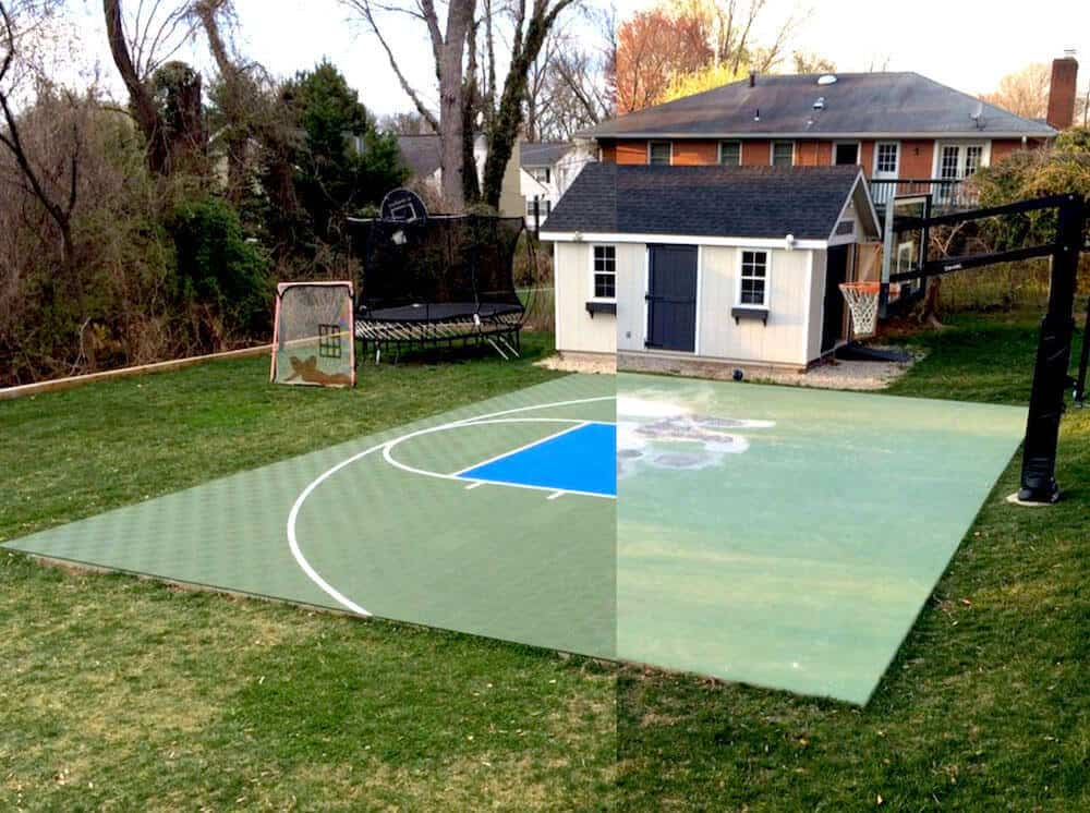 ModuTile Backyard Basketball Court Before After
