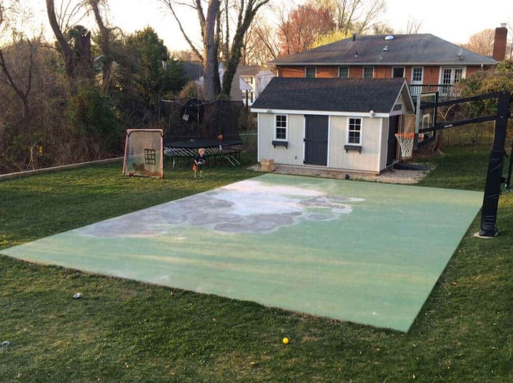 Old Backyard Basketball Court Before