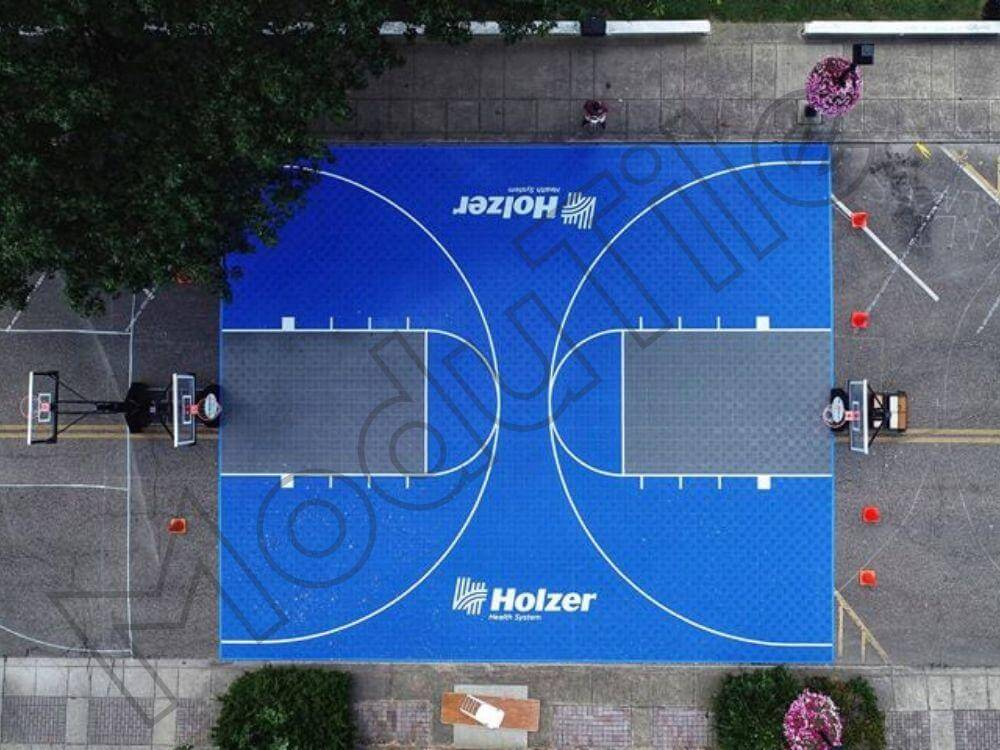 Backyard Basketball Court with Logo-Birdeye