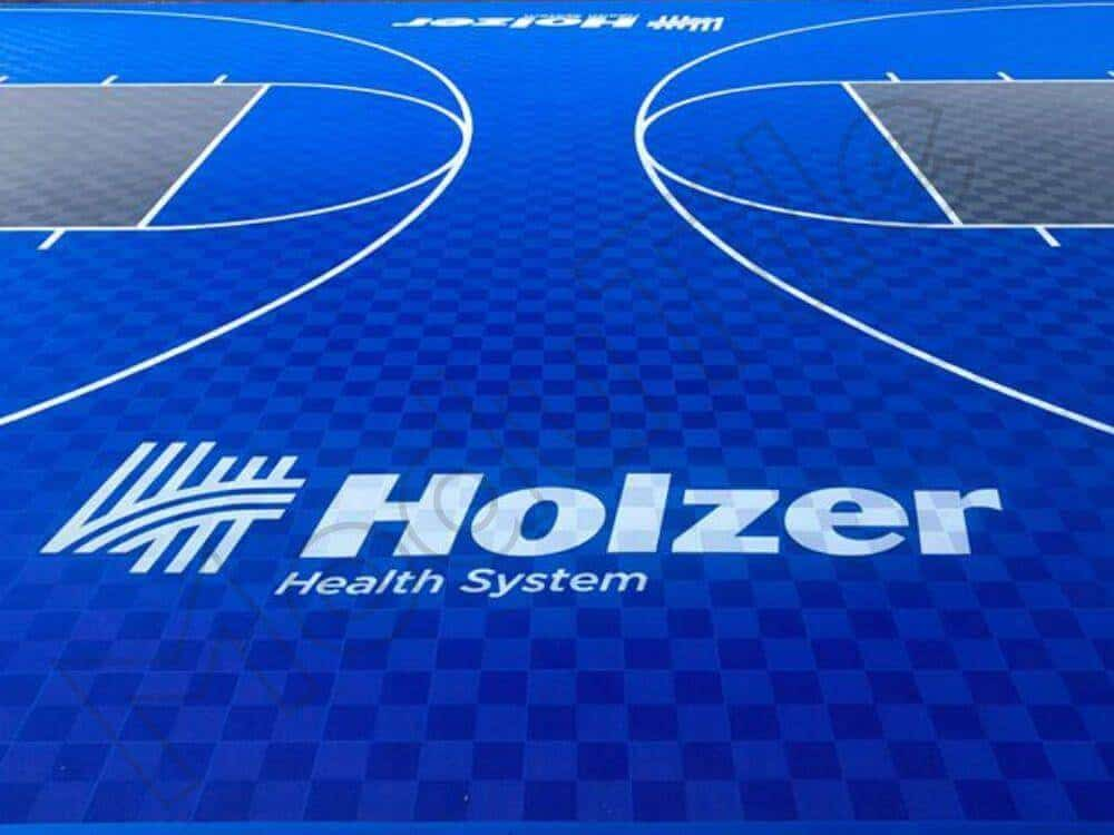 Backyard Basketball Court with Logo - Holzer-Closeup