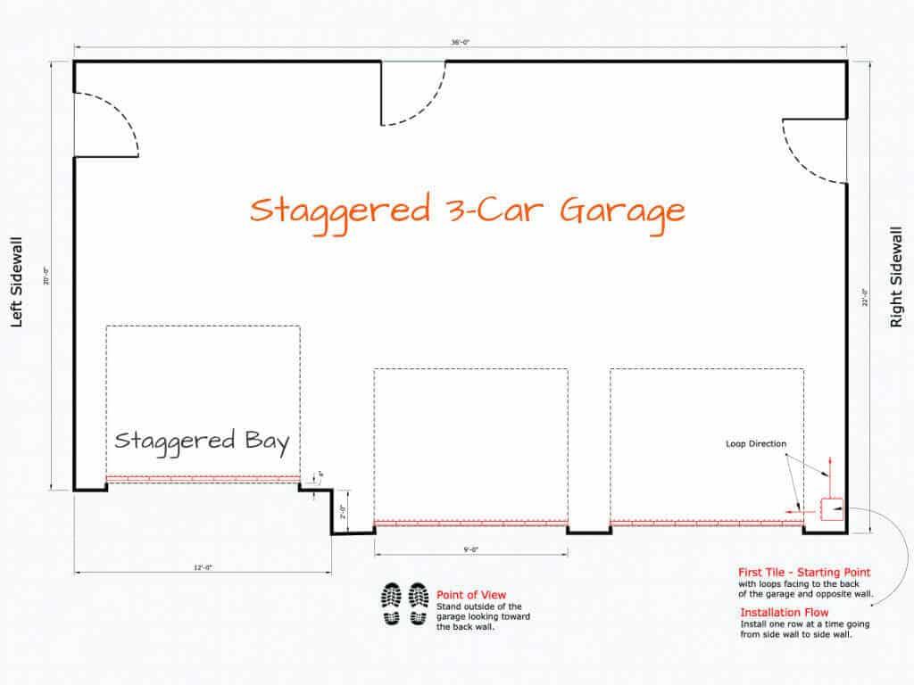 Interlocking Floor Tile Installation Starting Point Staggered 3-car Garage Plan