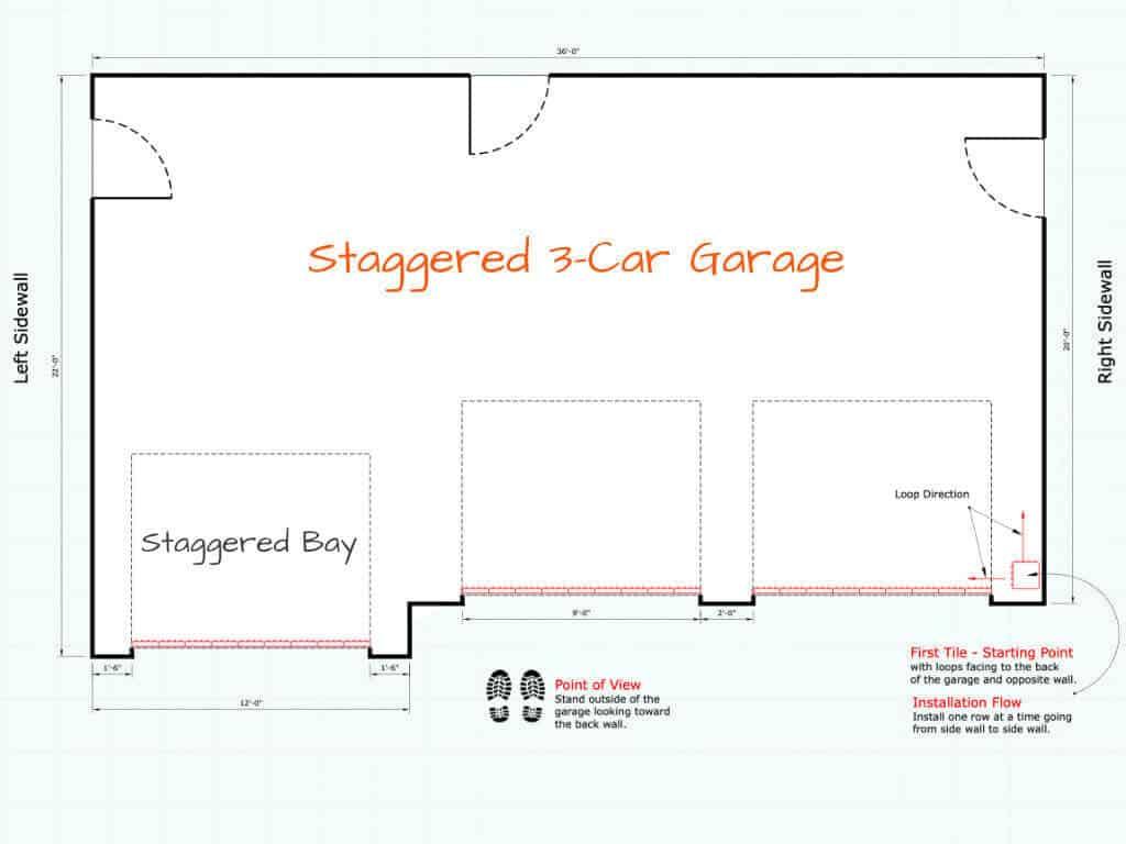 Garage Floor Tile Installation Starting Point Staggered 3-car Garage Plan