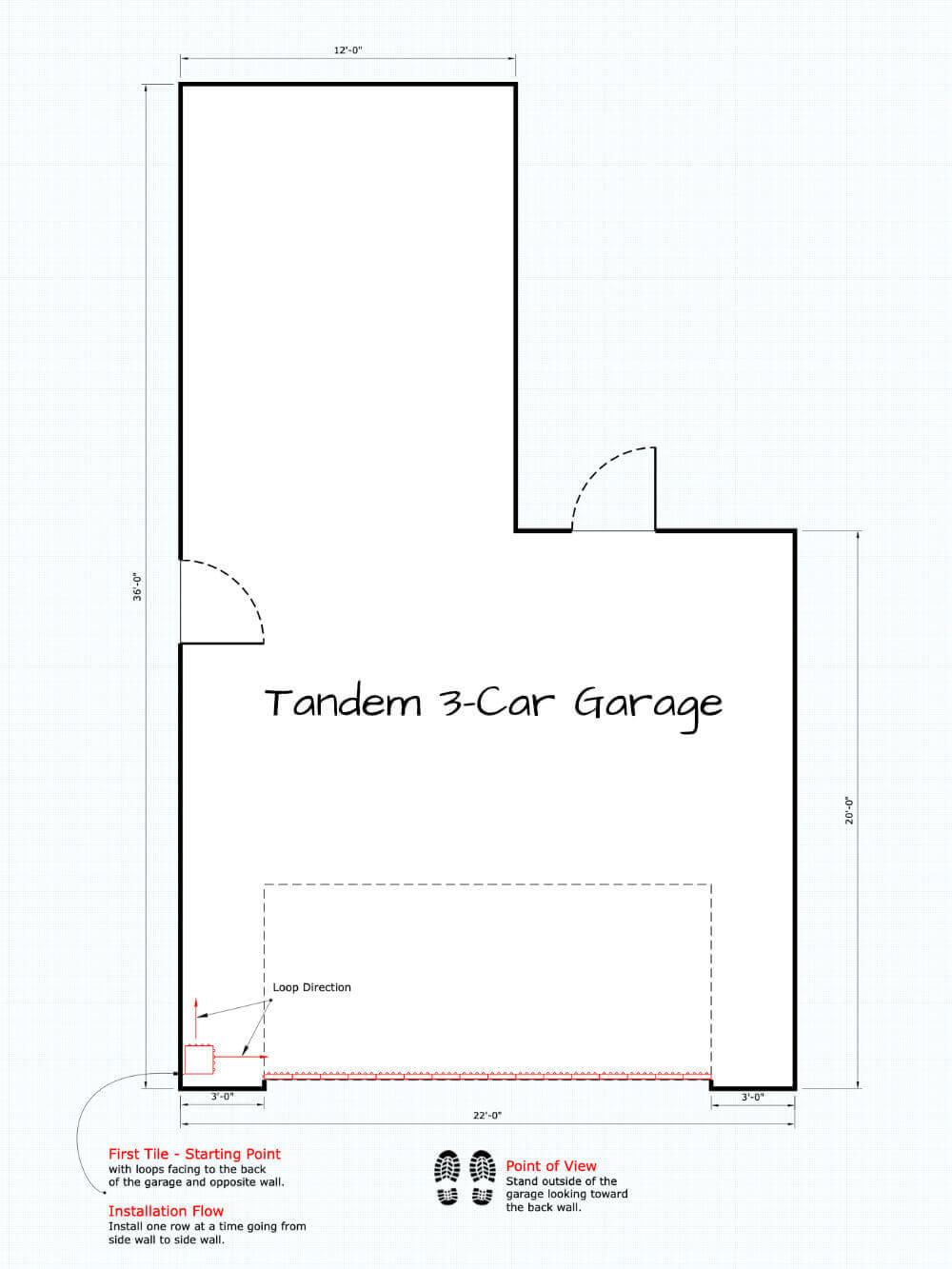 Garage Floor Installation Starting Point Tandem 3 Car Garage