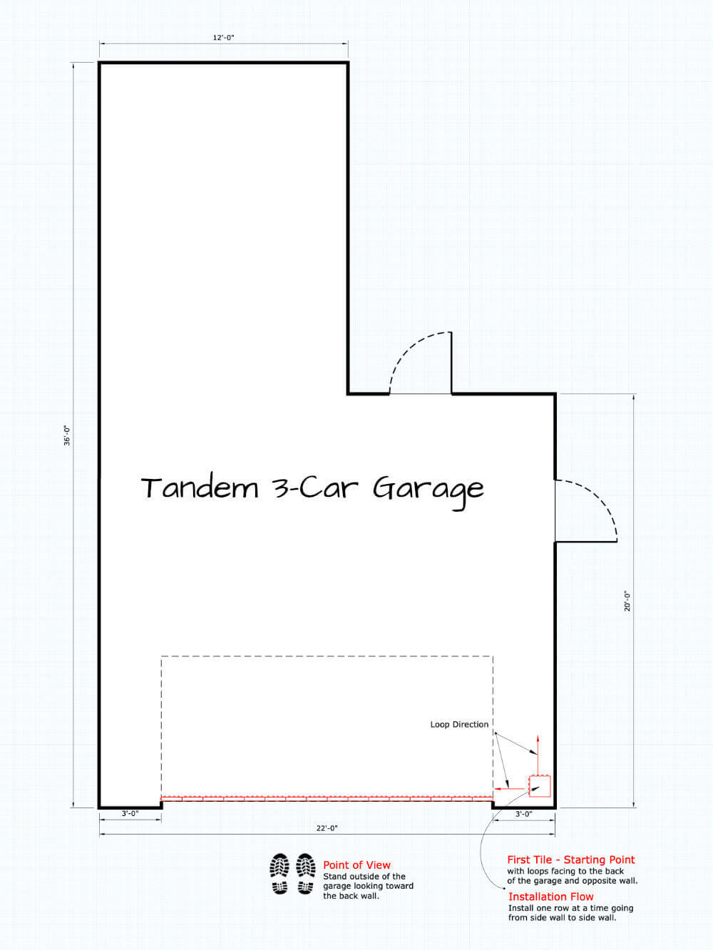 Interlocking Garage Tile Installation - Door at Short Side